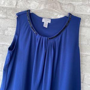 Carmen sleeveless black & blue beaded shirt